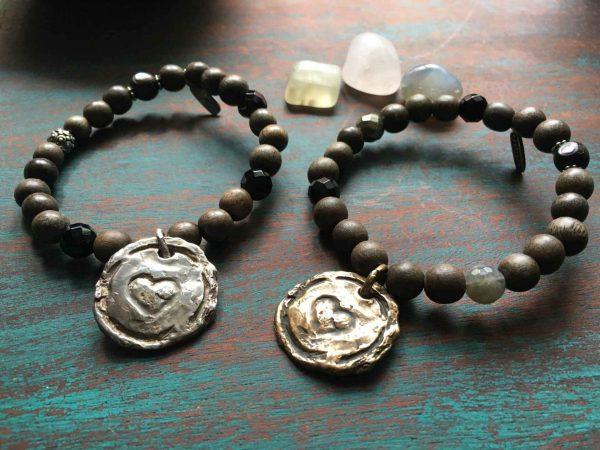 Michelle Marroco heart bracelet bronze and silver